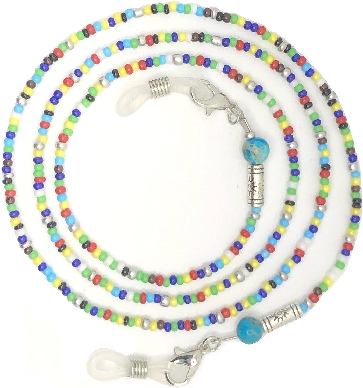 Cordón luxury piedras semi-preciosas para mascarillas faciales y gafas, práctica y conveniente cuerda para sujetar mascarillas y gafas con seguridad, cordón para colgar del cuello (Jaspe Imperial)
