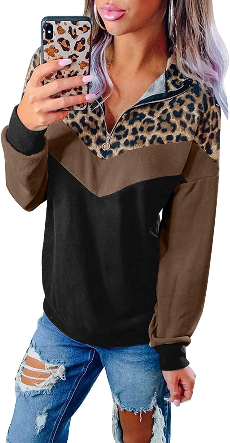 Ecrocoo Womens Long Sleeves Sweatshirts Casual Leopard Print Splicing Hoodies Pullover for Spring Autumn Winter