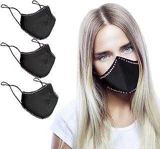 CHIC&LOVE - Banda Facial Reutilizable Negra para Mujer con Diseño Original de Cristales | AntiPolvo y AntiPolen Negra Esta...