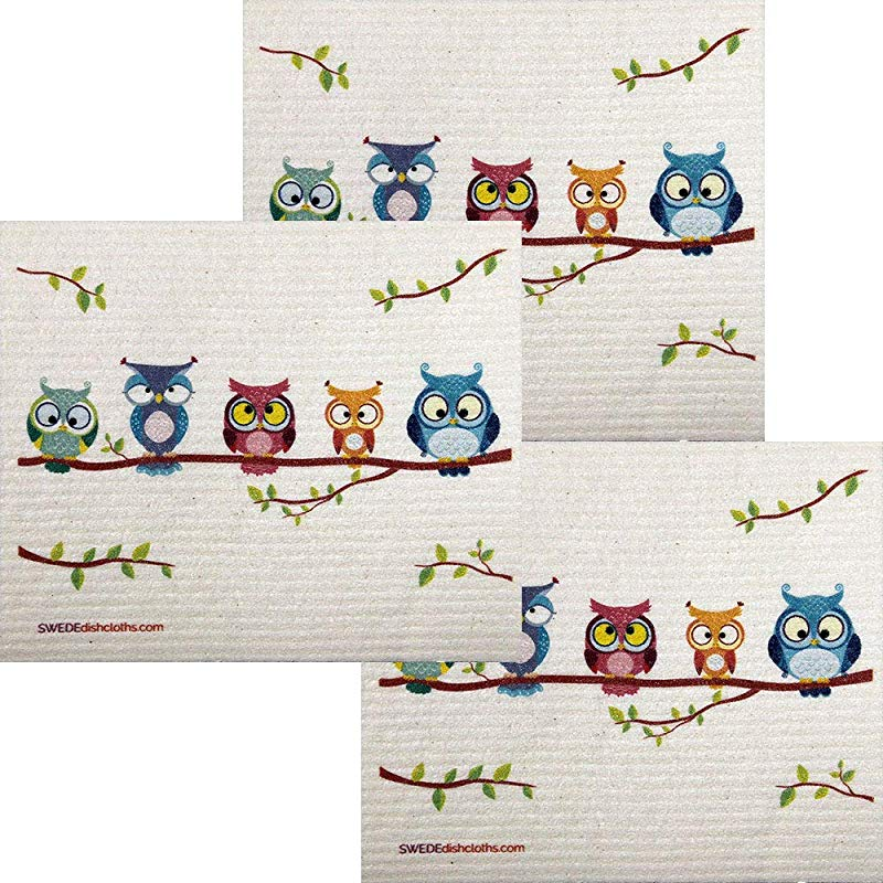 Owl Friends Set Of 3 Each Swedish Dishcloths ECO Friendly Absorbent Cleaning Cloth Reusable Cleaning Wipes