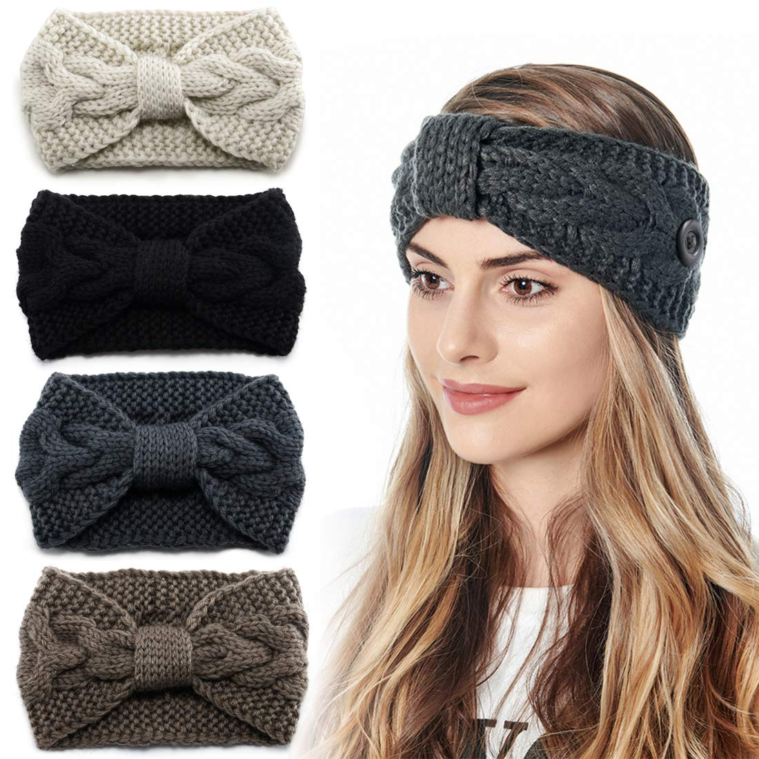 Women Ear Warmers Winter Headbands with Buttons for Mask Crochet Knitted Bands
