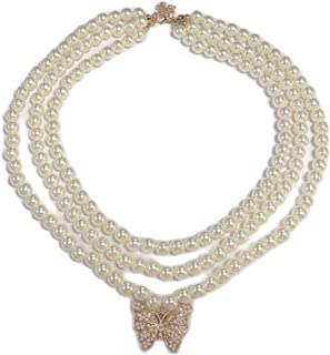 caiyao Rhinestones Cubic Zircon Crystal Big Exaggerate Butterfly Pendant Imitation Pearl Beaded Link Chain Choker Necklace...
