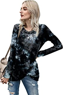 Women's Tie Dye Shirt Long Sleeve Tops Casual Twist Knot Crewneck Fashion Fall Basic Blouse