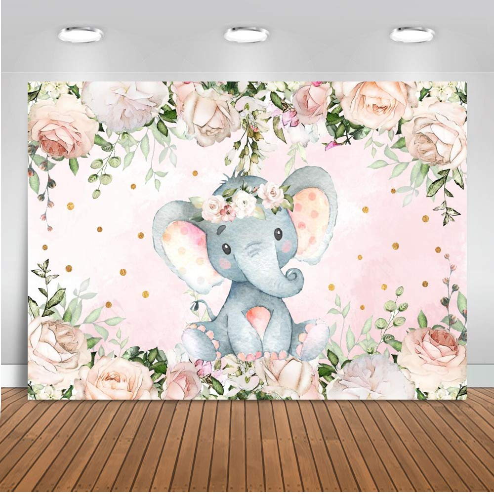 7x5ft Elephant Baby Shower Photography Background Birthday Party Backdrop Pr