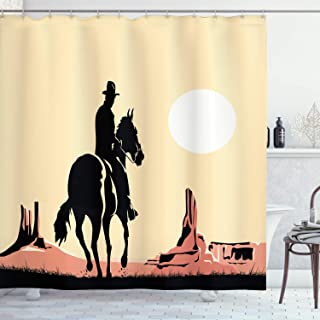 Ambesonne Western Shower Curtain, Image Art of Cowboy Riding Horse Towards Sunset in Wild West Desert Hero, Cloth Fabric Bathroom Decor Set with Hooks, 70