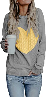 Gemijack Womens Sweaters Casual Long Sleeve Cable Knit Cute Crew Neck Chunky Heart Pullover