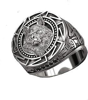 2 قطعة ذئب الطوطم خاتم فولاذ الشمال الذئب الشمال خاتم منتج جديد في خاتم الأزياء الرجالي (مقاس الخاتم: 7)