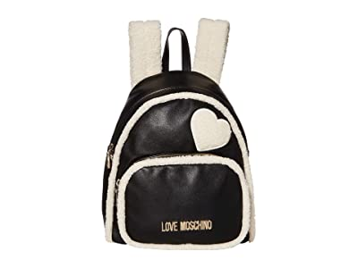 LOVE Moschino Stay Warm Backpack (Fantasy Print Black/Ivory) Backpack Bags