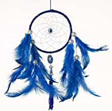 Rooh Dream Catcher - Evil Eye Owl ~ Handmade Hangings for Positivity (Used as Home DÃcor Accents, Wall Hangings, Garden, Car, Outdoor, Bedroom, Key chain, Meditation Room, Windchime) (silver)
