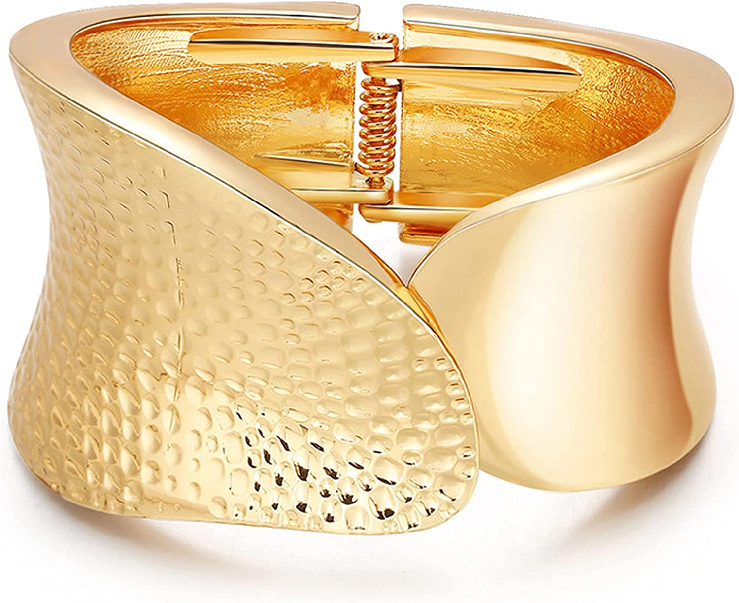 COLORFUL BLING Gold Tone Wide Chunky Bangle Bracelet for Women Polished Frosted Irregular Twist Grooved Cuff Bangle for Girls Simple Exaggerated Wrist Statement Jewelry