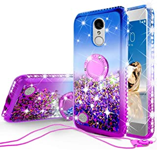 SOGA Rhinestone Liquid Quicksand Cover Cute Girl Phone Case Compatible for LG LV3/Aristo/K8 (2017)/LG Rebel 3/Rebel 2/Fortune/Risio 2 Case,with Embedded Ring for Magnetic Car Mounts and Lanyard Blue