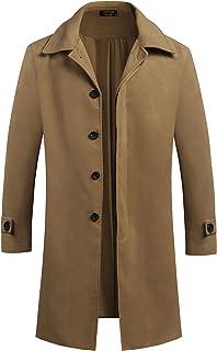 COOFANDY Men's Woollen Duffle Coat Vintage Toggle Winter Hoodie Overcoat Jacket