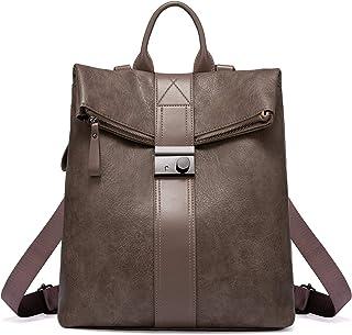Realer Damenrucksack Elegant, 2 in 1 Rucksackhandtasche, Wasserdichte Vintage Daypack, PU Lederrucksack Schultertasche, Gr...