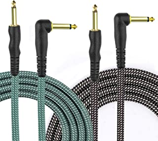 NUOSIYA 10 Ft Electric Guitar Cable Instrument Cable 2 pcs, pro 1/4 TS Gold Plated Plug Electric bass Cable, Flower Gray/Green Tweed Jacket, l Universal Power Amplifier/Sound Box