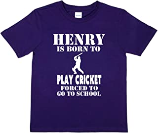 Print4u T-Shirt Born to Play Cricket Henry Personalised Tee