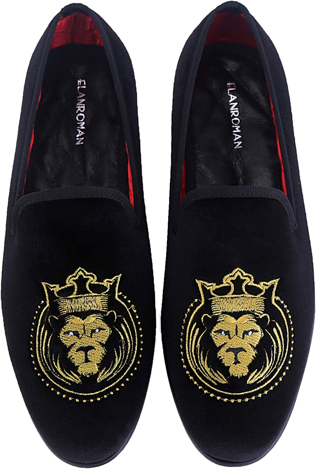 ELANROMAN Men Loafers Dress Velvet shoes with Tiger Pattern Smoking Slippers Slip on Penny Party Luxury Fashion Loafer shoes for Men
