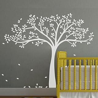 WallsUp Vinilo Adhesivo para Pared con diseño de árbol de otoño monocromático, Vinilo, Blanco