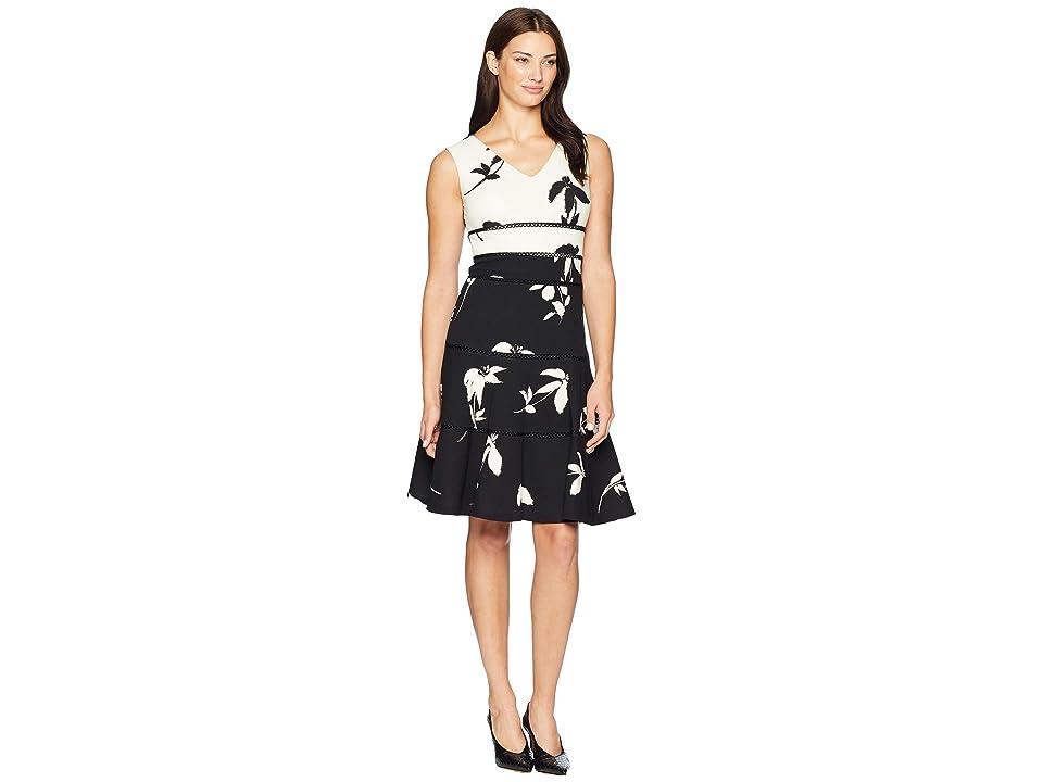 Taylor Contrast Print A Line Dress (Ivory/Black) Women