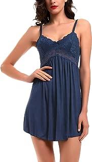 Women Lace Lingerie Sleepwear Chemises V-Neck Full Slip Babydoll Nightgown Dress