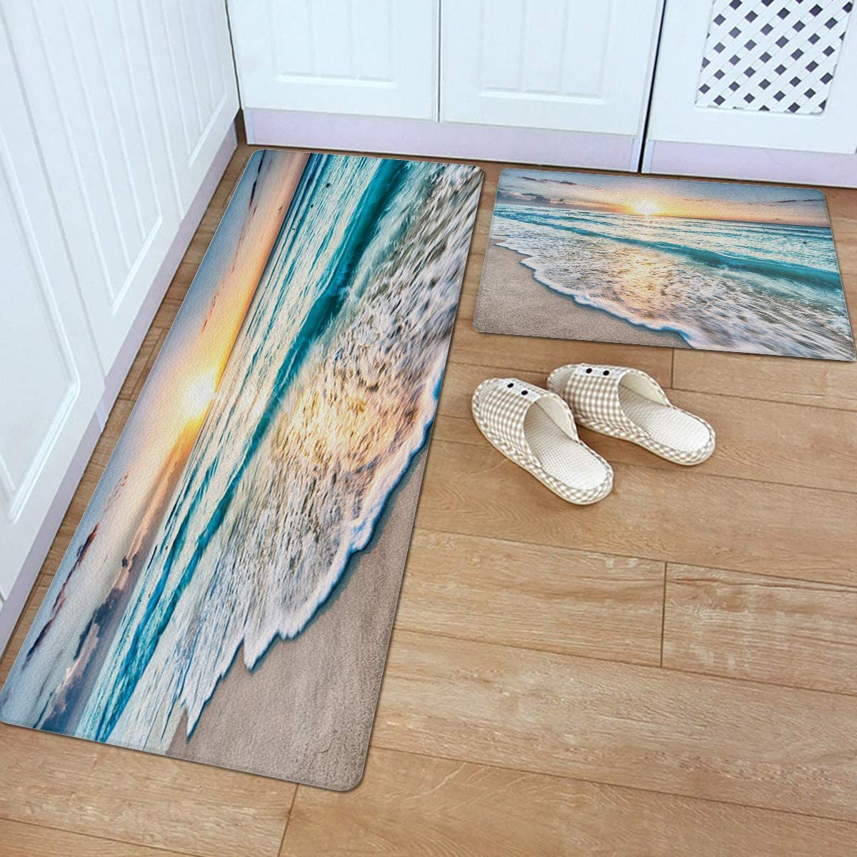 Fantasy Star 2 Piece Leather Kitchen Sand Beach Tropical Sales results Popular product No. 1 Se Rug-