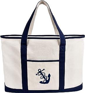 Anchor Embroidered Beach Bag Canvas Large Shoulder Bag Zipper Shopping Pouch Tote Handbag Extra Heavy Duty 20 oz 18 Cotton Top-handle Casual Bulk Vintage Storage Purse