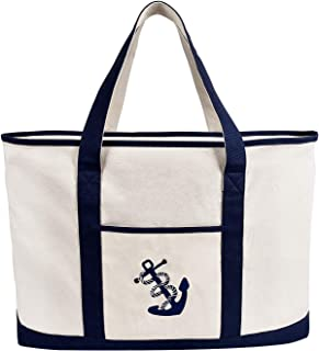 Anchor Embroidered Beach Bag Canvas Large Shoulder Bag Zipper Shopping Pouch