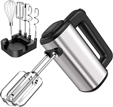 Hand Mixer Electric,Senbowe Upgrade 250W 5-speed Electric Handheld Mixers with Storage Case, Easy Eject Button and 5 Stainles