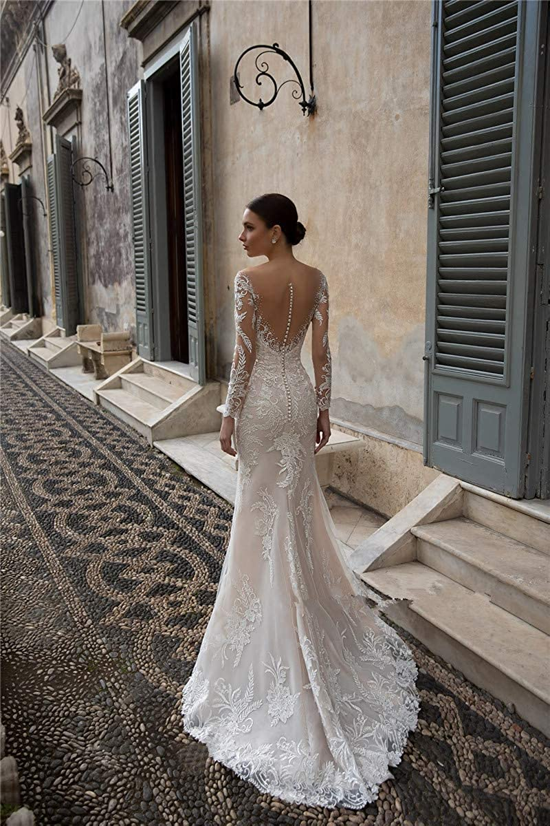 Mermaid Trumpet Off The Shoulder Long Sleeves Bridal Ball Gown Wedding Dresses for Women Bride with Detachable Train