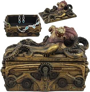 Ebros Faux Bronze Steampunk Octopus On Pirate Treasure Chest Decorative Jewelry Box Figurine Gas Mask Kraken Foot Soldier Warrior Statue