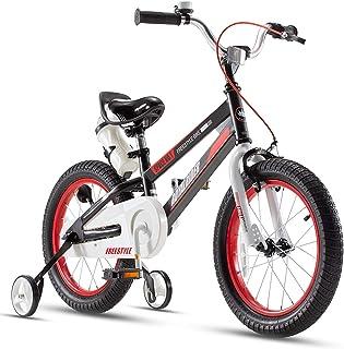 Royalbaby Boys Girls Kids Bike Space No.1 Steel Cycle 3-9 Years 14 16 18 Inch Bike Training Wheels Kickstand Black Red Chi...