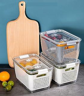 Fridge Food Storage, Kitchen Fridge Organizer, Kitchen Storage Bins Airtight with Vent & Drain, Fresh Produce Vegetable Fr...