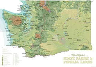 Best Maps Ever Washington State Parks & Federal Lands Map 18x24 Poster (Green & White)