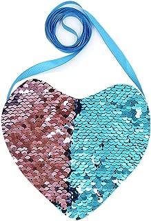 RARITYUS Sequin Heart Shaped Coin Purse Reversible Glitter Wallet Handbag Zipper Crossbody Pouch Bag for Girls
