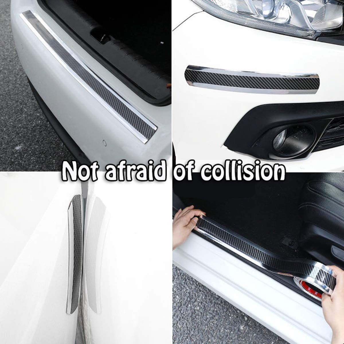 HENGJIA Sxlofty Door Entry Guards Width 1.96Inch Carbon Black red Door Sill Entry Guards,Paint Protection Guard,Before Rear Bumper Guard Scratch Scratch Protection Strip,Arbitrary Cutting 98.4Inch