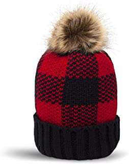 Winter Beanie Hat with Faux Fur Pompom & Inner Plush Lining