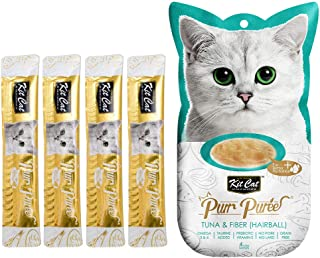 "Kit-Cat Purr Puree Tuna & Fiber""Hairball"" Wet Cat Treat Tubes 4x15g"