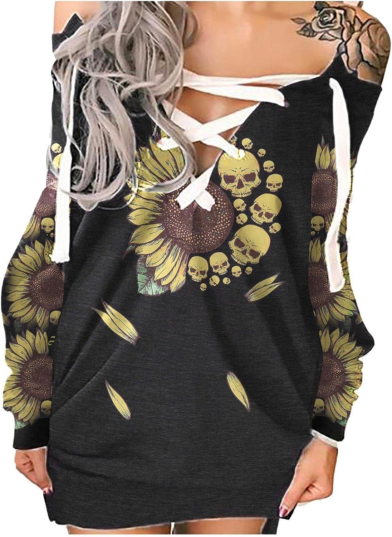 melupa Women's Tie Dye Printed Long Sweatshirt Dress V Neck Pullover Jumper Casual Long Sleeve Tunic Dresses