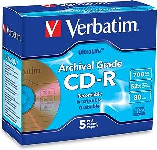 Verbatim CD-R 700MB 52X UltraLife Gold Archival Grade - Branded Surface & Hard Coat - 5pk Jewel Case - 96319