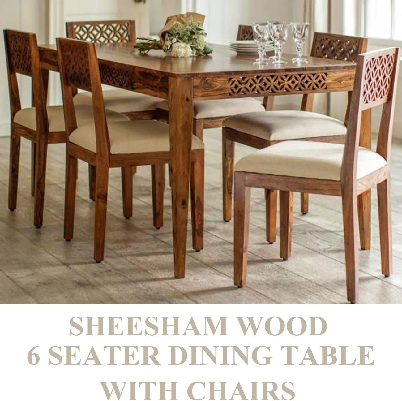 rjkart sheesham wood standard 9 seater dining table with chairs ...