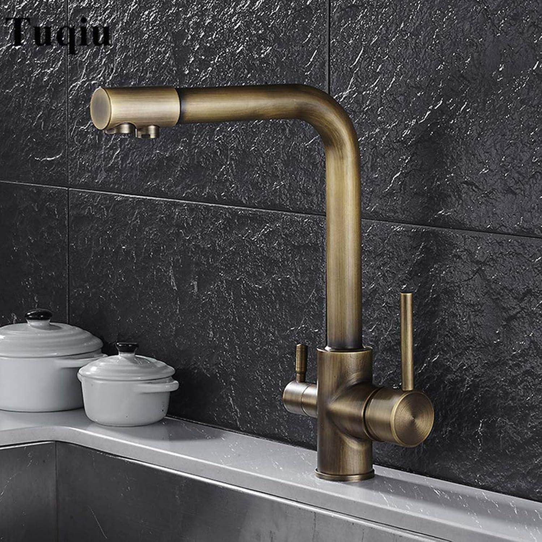 FZHLR Antike Küchenarmatur Deck Berg-Mischer-Hahn 360 Grad Drehung Mit Wasseraufbereitung Mit Single-Loch-Kran Für Küche