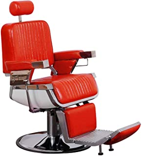 BarberPub Heavy Duty Vintage Barber Chair All Purpose Hydraulic Recline Salon Chair Beauty Spa Styling Equipment 2009 (Bright Red)