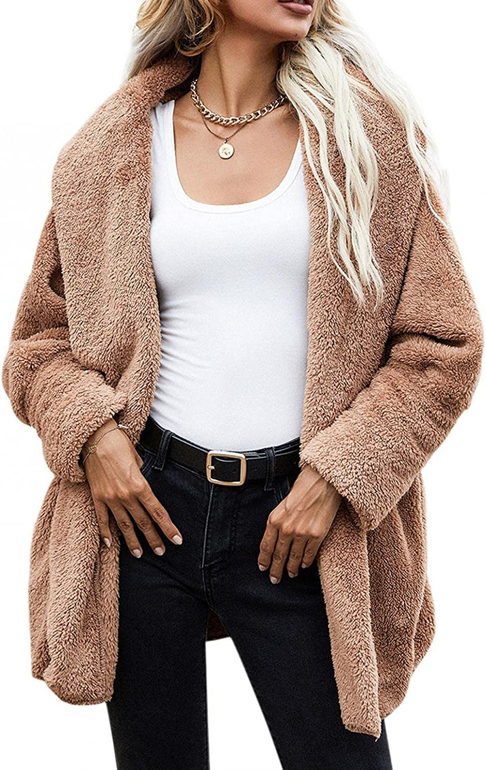 Misaky Womens Winter Casual Classic Fuzzy Fleece Jacket Open Front Hooded Coats Outwear With Pockets