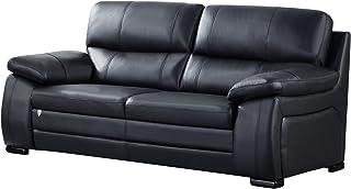 American Eagle Furniture Elmore Modern Italian Leather Living Room Sofa, 87, Black