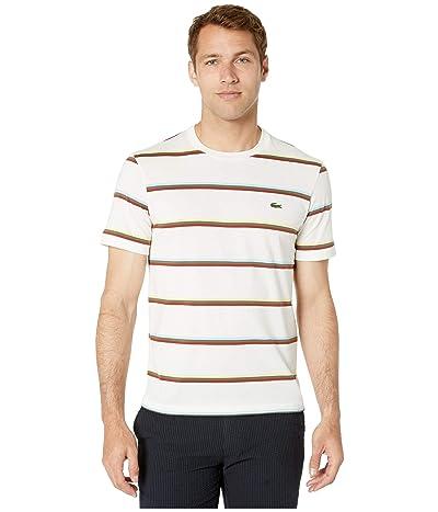 Lacoste Short Sleeve Striped Light Jersey Pima Cotton T-Shirt (Flour/Multicolor) Men