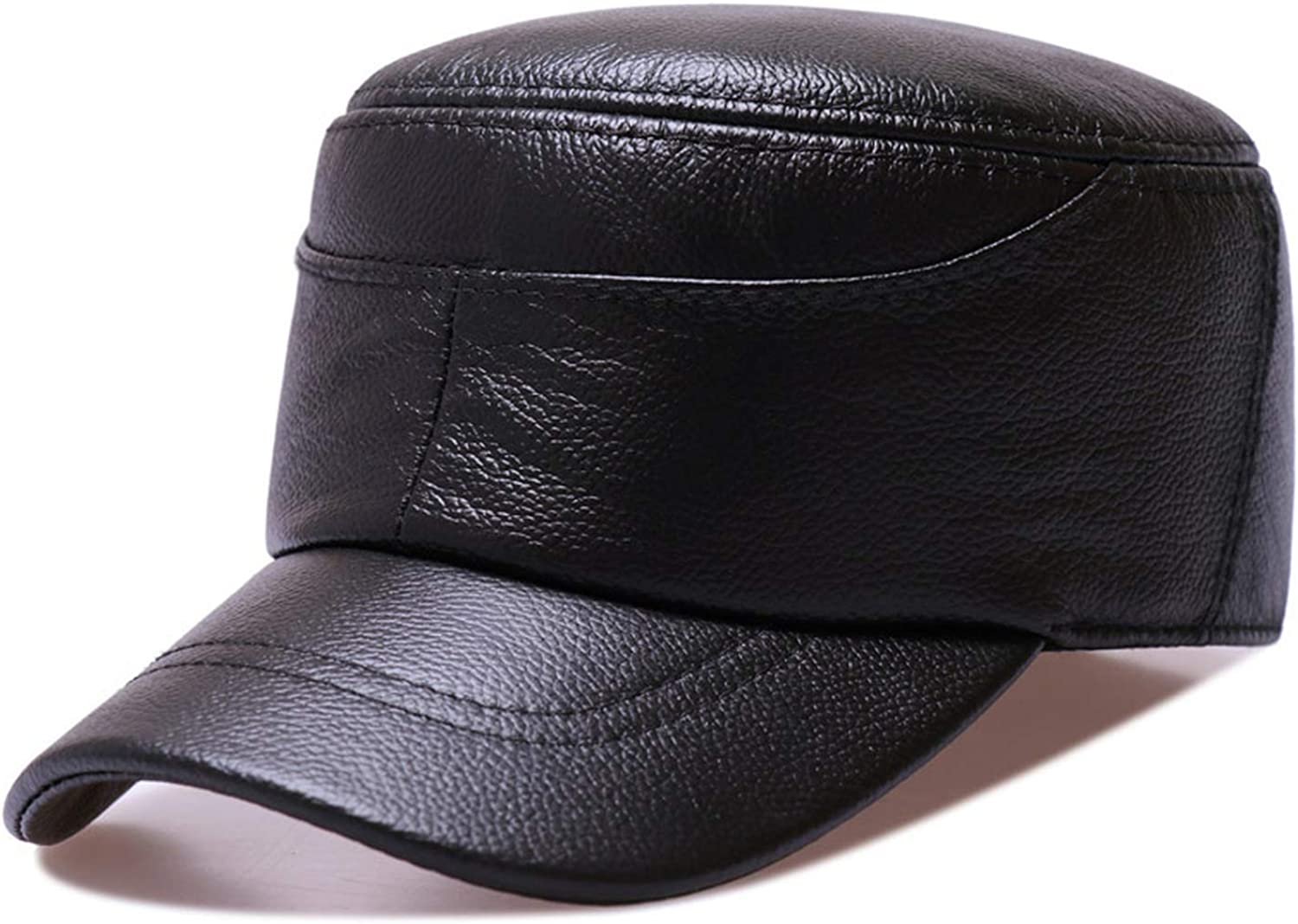 MEIZOKEN Genuine Leather Military Newsboy Hat Women Army Cap Baker Boy Hat Spring Autumn Duckbill Flat Top