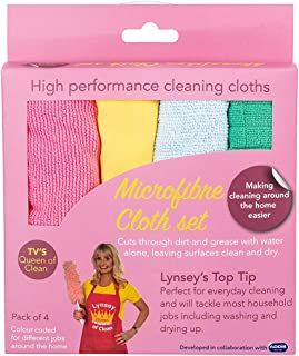 Addis 518618 LQOC 100% Microfibre Coded All Round Cleaning Cloths, Pack of 4, Multi Colour Pack