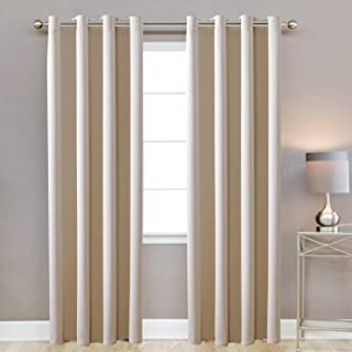 108 inch Wide X 98 inch Extra Tall Textured Ivory/TAN Color Room Darkening Thermal Insulated Blackout Grommet Window Curtains Set for Living Room and Bedroom