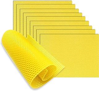FYBlossom 10 Stück Bienenwachsplatten,Bienenwachs für Kerzen zum Kerzenrollen Stumpenkerzen Kerzenherstellungssets Zubehör 9 x 13 mm, Gelb