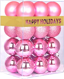 """Best GameXcel 24Pcs Christmas Balls Ornaments for Xmas Tree - Shatterproof Christmas Tree Decorations Large Hanging Ball Pink 2.5"""" x 24 Pack Review"""