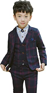 Boys Plaid Suits Formal Dress Blazer Vest Pants 3 Pieces Gray & Navy 2 Colors